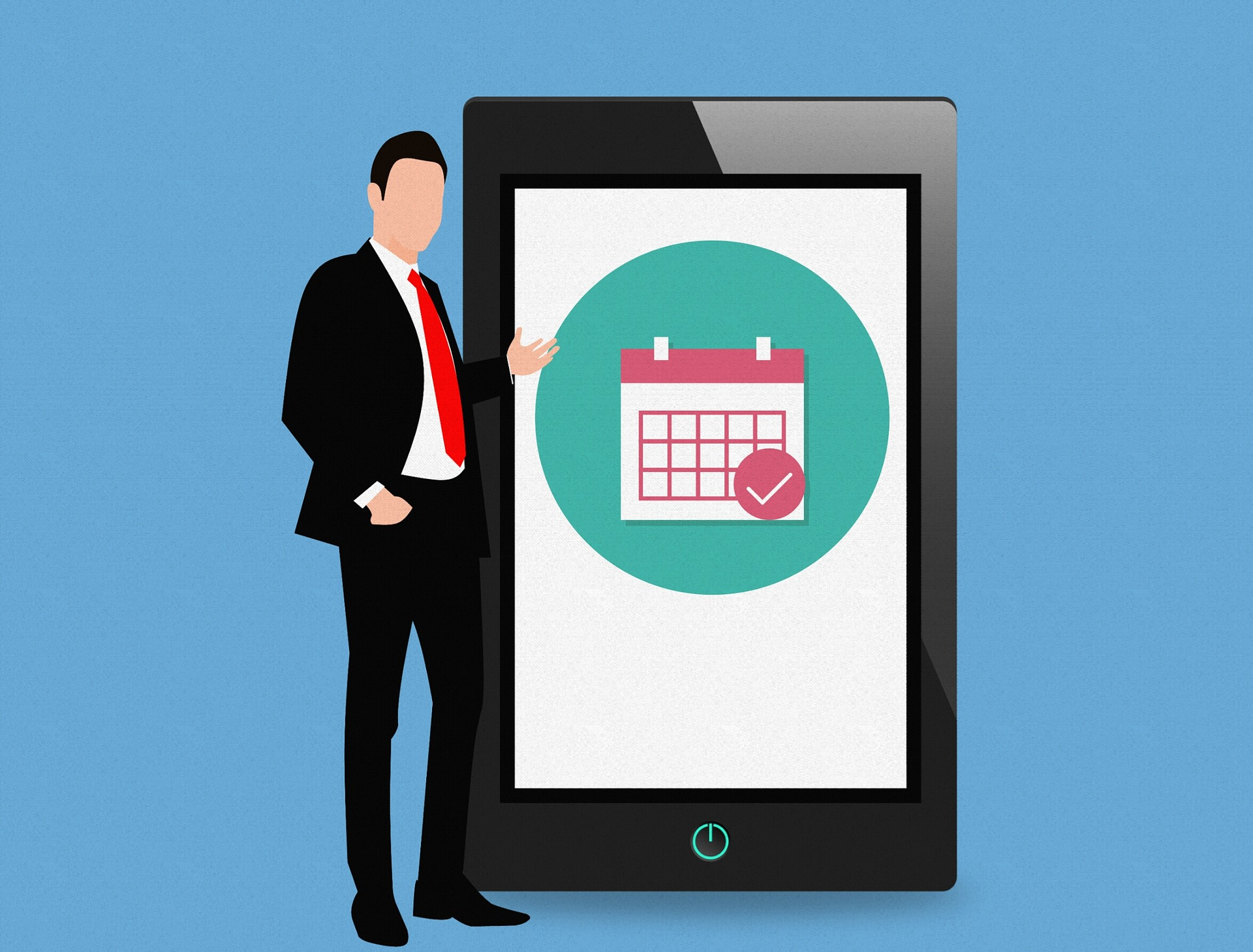 Man in businesssuit standing next to smartphone/tablet with a calendar to show length of time